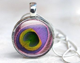 Feather Pendant - Peacock Feather Necklace - Purple And Pink - Pendant Necklace - Silver Necklace Photo Pendant, Peacock Jewellery