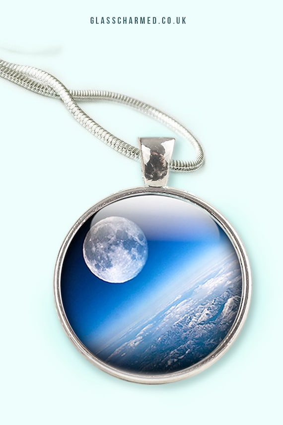 Glow In Dark Full Moon Necklace Space Picture Galaxy Jewelry For Ladies Sweater Chain Charm Pendant