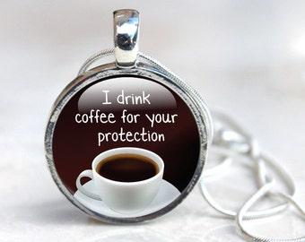 Coffee Cup Necklace, Coffee Necklace, Coffee Cup Glass Necklace, Glass Pendant Necklace, jewellery