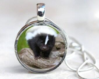Skunk Gifts, Skunk Jewellery, Baby Skunk Jewelry, Glass Necklace (SG1)