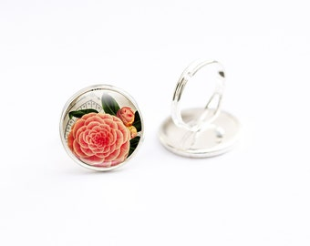 Flower Ring, Adjustable Ring,  Photo Glass Ring  Picture Ring, Floral Jewelry,  Painted Flowers, Photo Jewelry, Art Ring Peach Pink