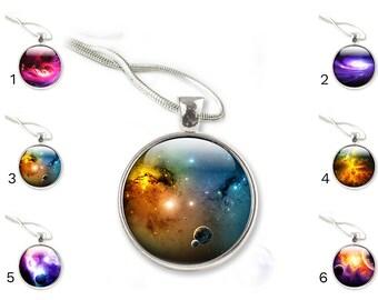 Glass Galaxy Pendant - Glass Pendant Necklace - Galaxy Glass Pendant - Other Galaxy Designs available