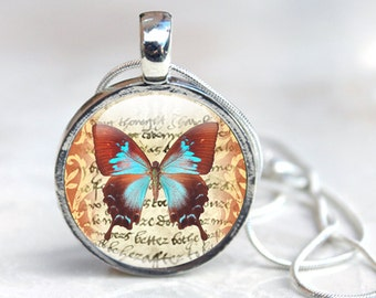 Butterfly Glass Pendant - Butterfly Jewelry - Glass Pendant Necklace - Butterfly Pendant (jewelry 9), Glass Pendant Necklace, jewellery