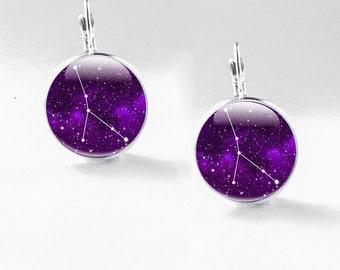 Cancer Earrings -  Zodiac jewellery -  Constellation earrings - Cancer zodiac Jewelry - Cancer Constellation Jewellery (CEZ1)