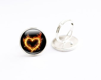 Heart Ring - Fire Heart Jewellery - Glass Heart Ring - Heart on Fire against a black background - Adjustable ring  (HRF1)