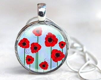Poppy Jewelry - Glass Poppy Jewelry - Red Poppy Jewelry, Glass Pendant Necklace, jewellery