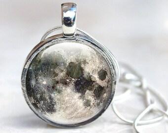 Moon Pendant,  Moon Glass Pendant, Full Moon Jewellery (MNM3), Glass Pendant Necklace, jewellery