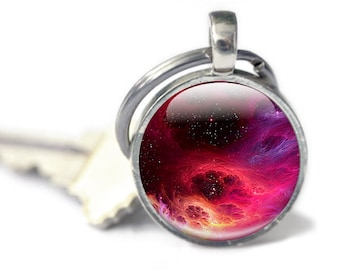 Space Keyring, Nebula Gifts - Gifts for Him -vRed Science Keyring, Gift for Astronauts, Nebula Key chain, Geekery Keychain