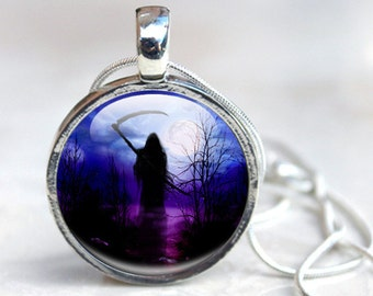 Halloween Necklace Grim Reaper Pendant Necklace, Goth Silhouette Death Jewellery Picture Necklace Photo Pendant