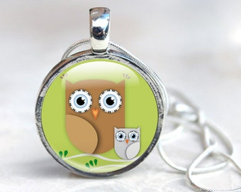 Owl Necklace, Cute Owl Pendant  - Glass Dome Necklace with Owl - Owl Gift for her