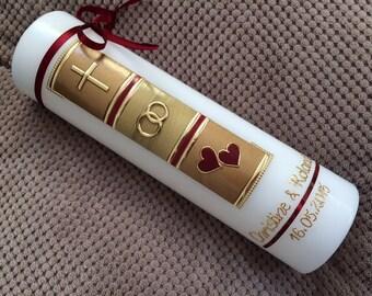 Wedding candle-wedding candle vintage-candle-including wax lettering-wax embellishments-no foil