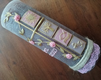 RUSTICA, VINTAGE look, SHABBY, Rustic, baptismal candle, squares, tendril, girl, candle, no foil, wax labeling, color wishes possible