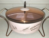 Fantastic Mid Century Pyrex Casserole Food Warmer Pink Copper Space Age Cradle Vintage Kitchen