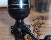 Antique Wall Mount Coffee Grinder with Tin Hopper Black Gold Pinstriping