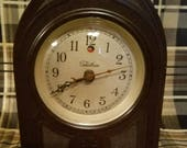 Adorable Bakelite Cathedral Style Working Electric Clock made by Warren Telechron 1940s