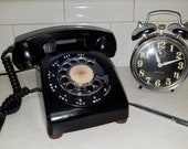 Vintage Rotary Telephone Mid Century Desk Style Black Works