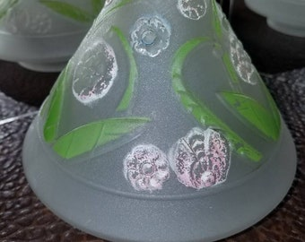 True Vintage 1940s Cone Shaped Glass Replacement Lamp Shade Hanging Floral