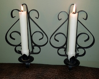 Vintage Wrought Iron Wall Candle Holder Sconces Mid Century Mediterranean Design