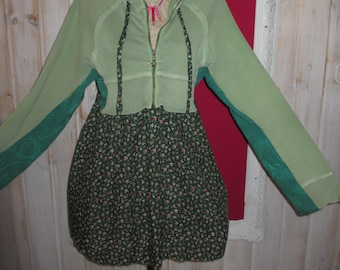 Plus size Boho Hoodie Tunic Dress Shabby Green Cotton Upcycled Lagenlook Fluttering