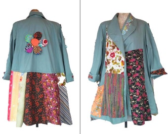 L to XXL Quirky Spring Fall Coat Upcycled Recycled Boho Hippie Patchwork Cotton