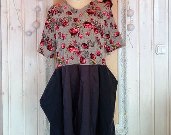 Plus size Floral Tunic Dress with Pocket Upcycled