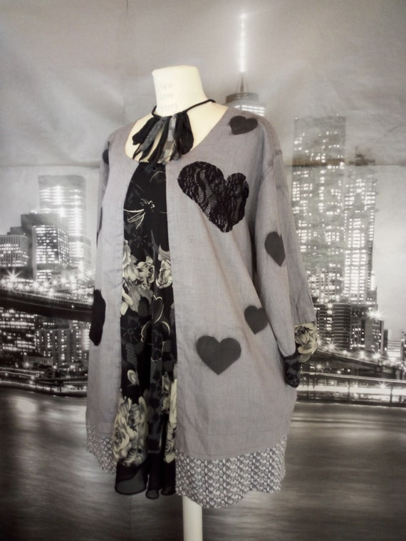 420d6190a43b You are my heart Shabby and Chic Loose fit tunic top Boho