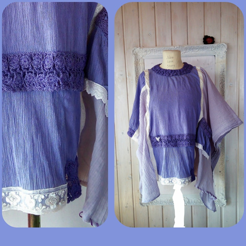 0e4676f4fcf3 Lilac Lace Cotton Tunic Top L to Plus Size Upcycled Loose
