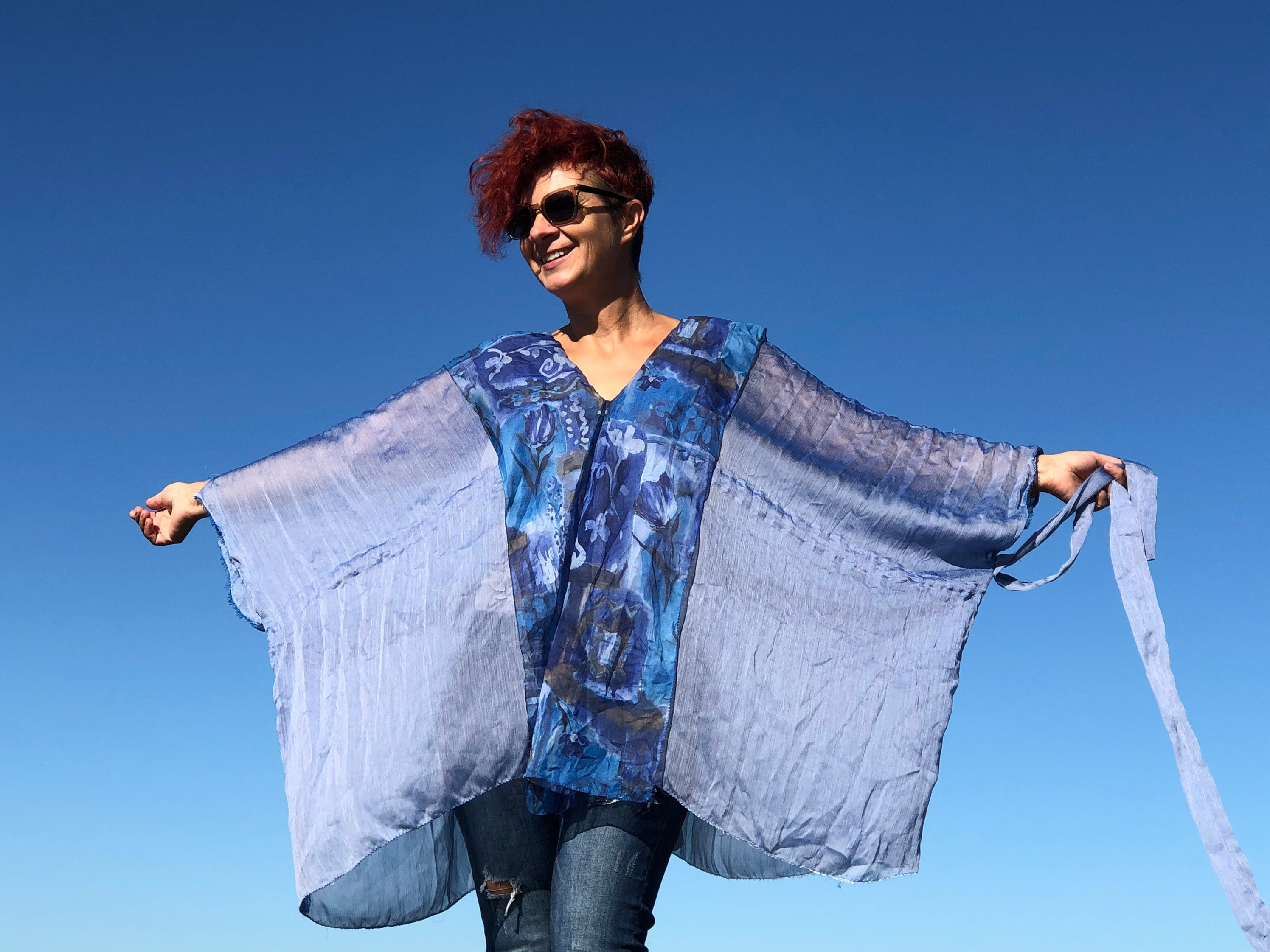 Vintage Scarf Styles -1920s to 1960s Blue Poncho Top Womans Plus Size Clothing Vintage Upcycled Scarf Silk Kimono Blouse Unique Zero Waste Sheer Lightweight Eco $106.00 AT vintagedancer.com