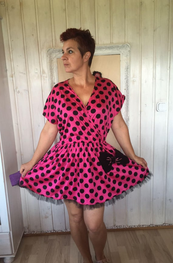 2xl-3xl Trendy Plus size Dress ,polka dot hot pink dress,Upcycled Hot Pink  with Pocket