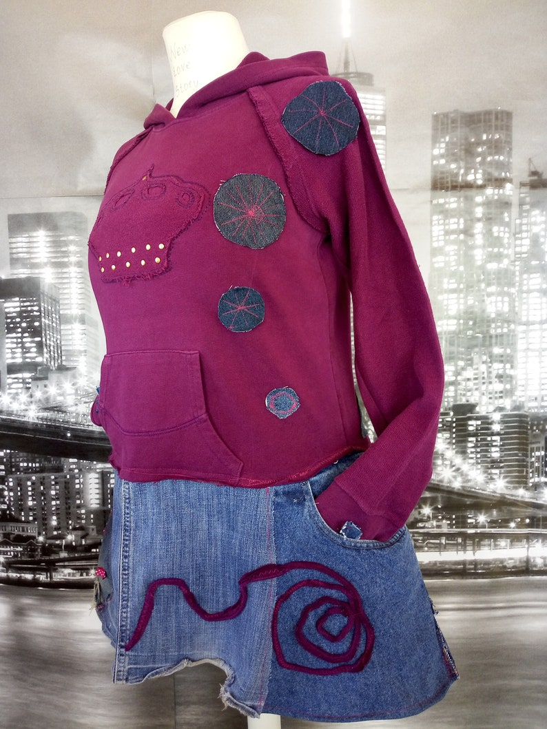 Stylish Warm Tunic M-L Majestic Warm Tunic- Shabby Chic Warm Tunic Warm Hooded Tunic Boho Bohemian M L Upcycled Tunic Recycled