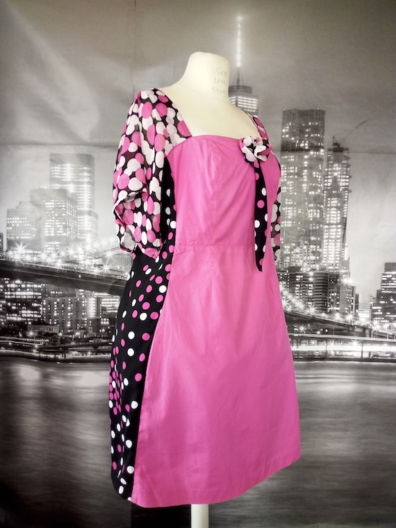 3X Adorable hot pink upcycled womens plus size dress, Curvy girl fashion  polka dots Dress,Elegant Upcycled Polka dots FLAIRY SLEEVES