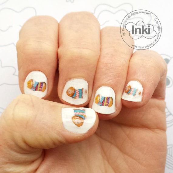 Pig Nail Art: Guinea Pig Nail Transfers 30 Guinea Pig Nail Art Stickers
