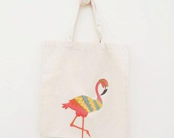 Cotton Tote Bag Flamingo Illustration - Custom Name Personalised Canvas Cotton Tote Bag - Write Any Name