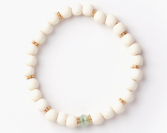 Sand beach wood beads bracelet handmade with love in Montreal