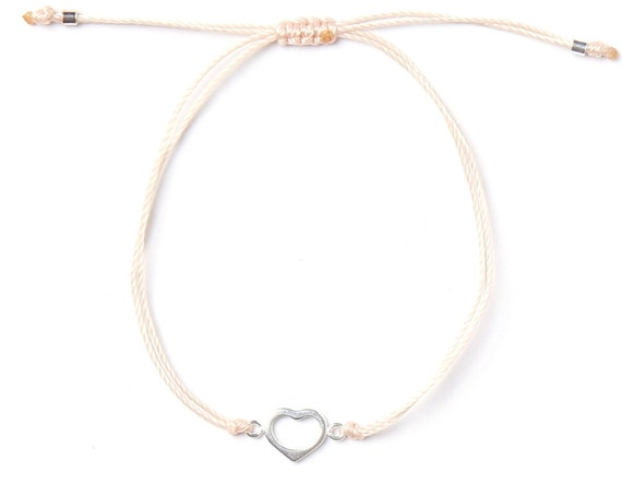 Delicate heart bracelet (aime), in real silver, handmade in Montreal