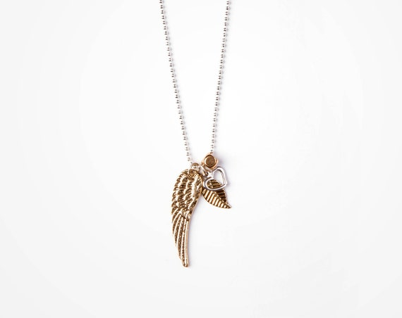 "Delicate silver ball chain ""maeva"" necklace, angel wing, leaf, heart, charms, handmade in Montreal"