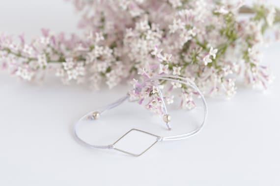Diamond silver-plated bracelet on a nylon thread handmade in Montreal
