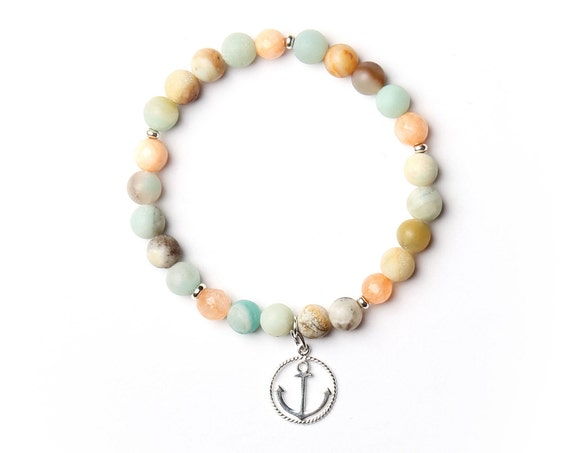 "Bracelet ""sea"" gemstones and anchor charm, handmade in Montreal"