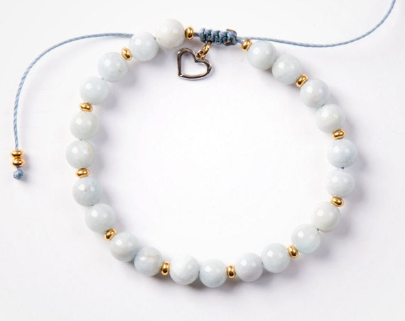 Sea breeze gemstones bracelet handmade in Montreal