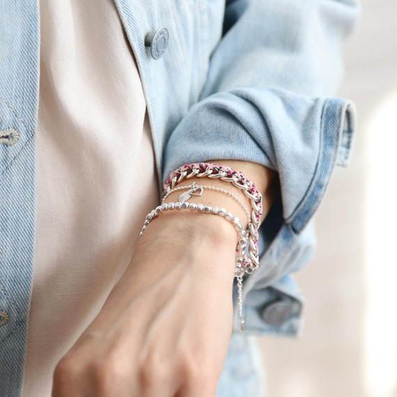 """Si Simple """"harmony flower and jeans"""" bracelets handmade in Montreal"""