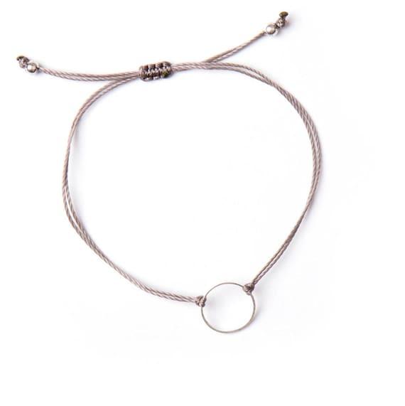 Delicate ring bracelet on a nylon thread handmade in Montreal