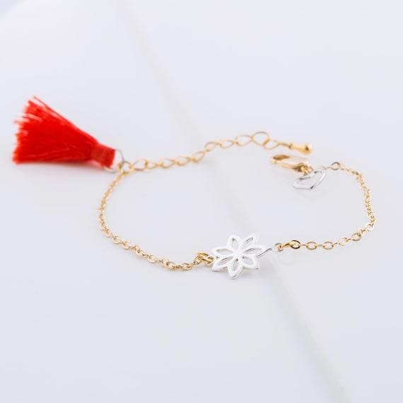 Brass lotus charm bracelet handmade in Montreal
