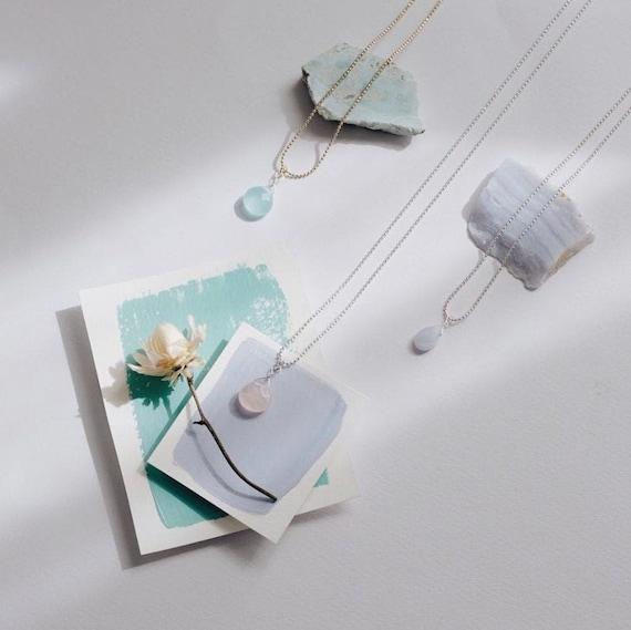 Agate blue lace necklace