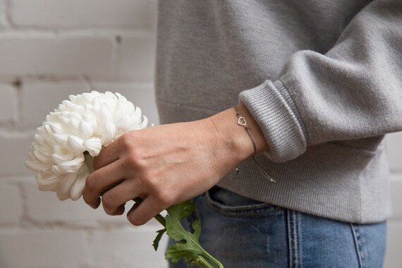 Delicate real silver heart bracelet handmade in Montreal