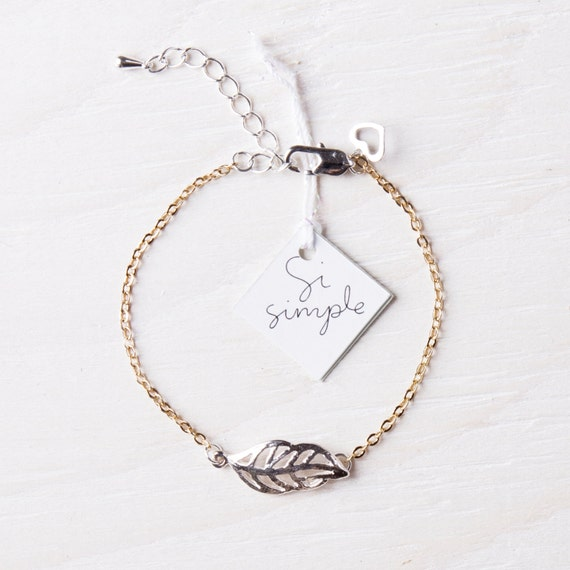Leaf bracelet stainless steel plated-gold handmade in Montreal