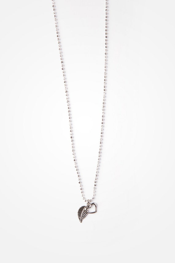 """Necklace silver-plated 0,5mm ball chain with delicate leaf pendant - 18"""" - handmade in Montreal Si Simple - ANYA"""