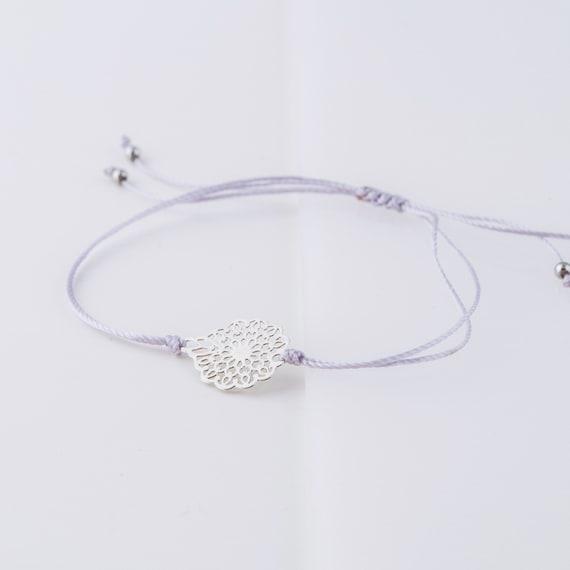 Silver flower bracelet handmade in Montreal