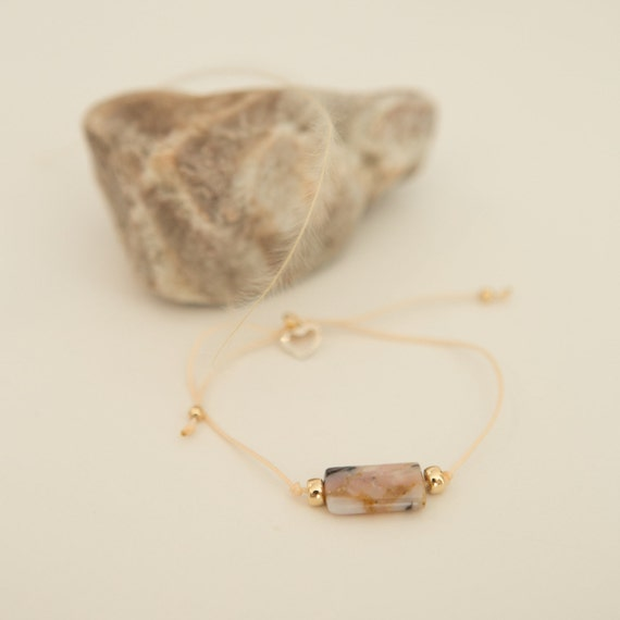 Bracelet pink opal gemstone