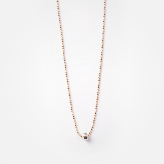 "Delicate ball chain ""mila"" necklace, real silver ring pendant, handmade in Montreal, Canada"