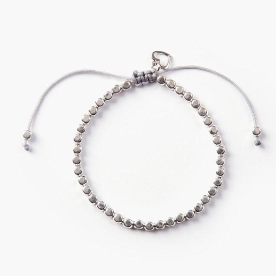 Bracelet silver plate nylon thread handmade in Montreal